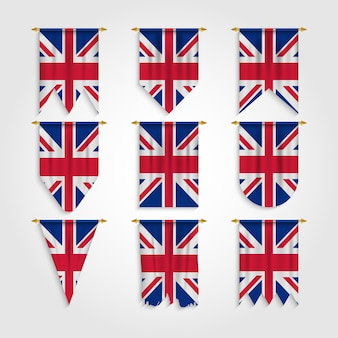 Drapeau du royaume-uni avec différentes formes, drapeau britannique sous diverses formes