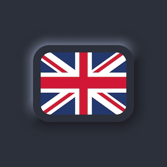 Drapeau du royaume-uni. drapeau national du royaume-uni. symbole du royaume-uni. vecteur. icônes simples avec des drapeaux. neumorphic ui ux interface utilisateur sombre. neumorphisme