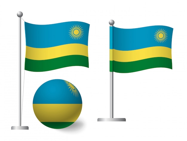 Drapeau du rwanda sur l'icône de poteau et boule