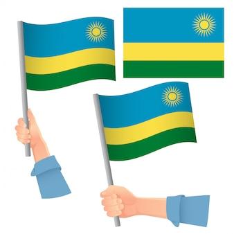 Drapeau du rwanda en jeu de main