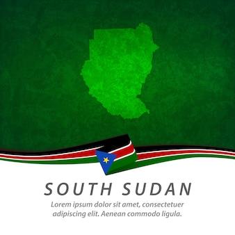 Drapeau du soudan du sud avec carte centrale
