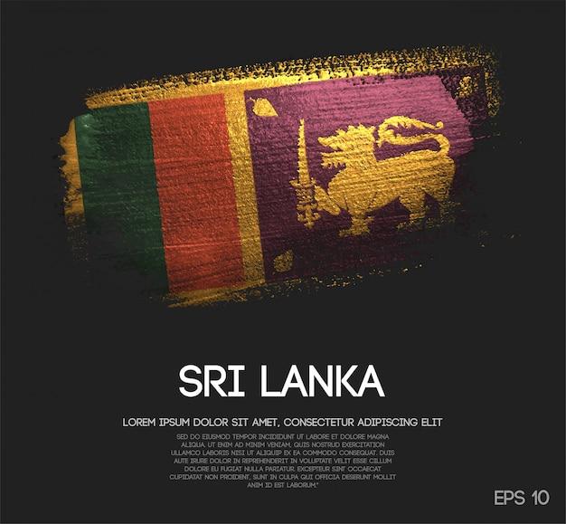 Drapeau du sri lanka fait de peinture de pinceau d'étincelle de scintillement