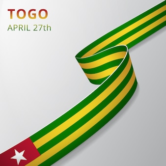 Drapeau du togo. 27 avril. illustration vectorielle. ruban ondulé sur fond gris. jour de l'indépendance. symbole national. modèle de conception graphique.