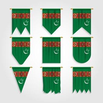 Drapeau du turkménistan sous différentes formes, drapeau du turkménistan sous différentes formes