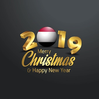 Drapeau du yémen 2019 joyeux noël typographie