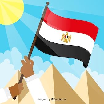 Drapeau de l'egypte avec paysage