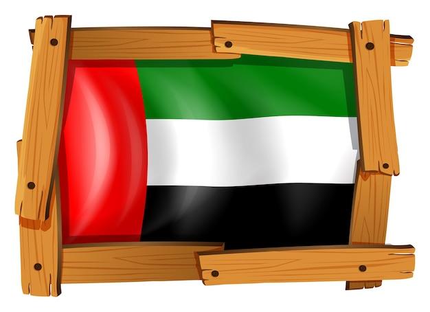 Drapeau des émirats arabes unis dans un cadre en bois