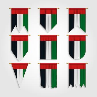 Drapeau des émirats arabes unis dans différentes formes, drapeau des émirats arabes unis dans diverses formes