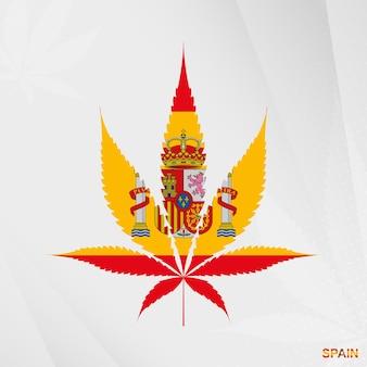 Drapeau de l'espagne en forme de feuille de marijuana. le concept de légalisation du cannabis en espagne.