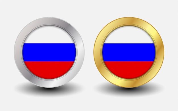 Drapeau d'état russe avec forme ronde premium