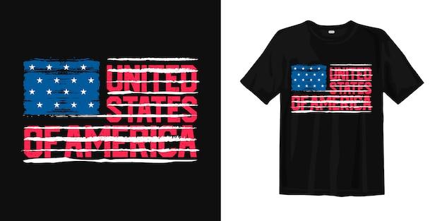 Drapeau des états-unis d'amérique avec typographie pour t-shirt