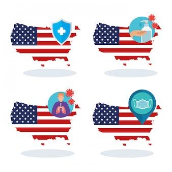Drapeau des états-unis et carte dans l'ensemble des icônes covid19