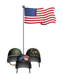 Drapeau des états-unis avec casque militaire