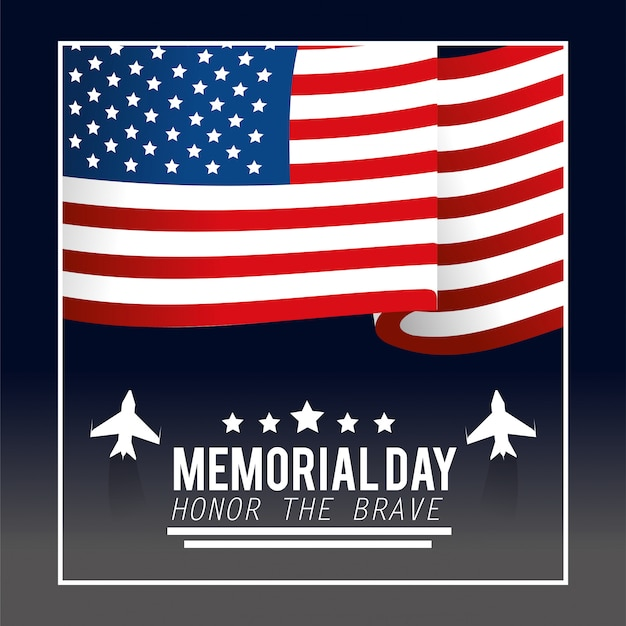 Drapeau des états-unis avec des étoiles et des avions pour commémorer