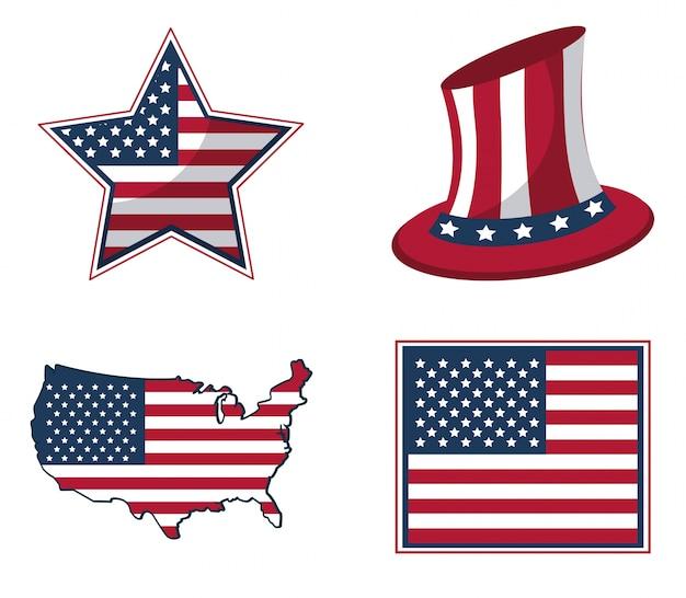 Drapeau des états-unis en forme d'étoile et chapeau et carte