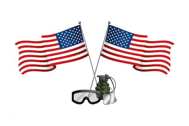 Drapeau des états-unis avec grenade