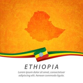 Drapeau de l'éthiopie avec carte centrale