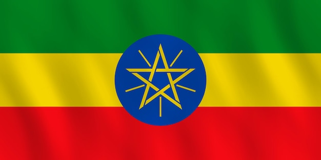 Drapeau de l'éthiopie avec effet ondulant, proportion officielle.