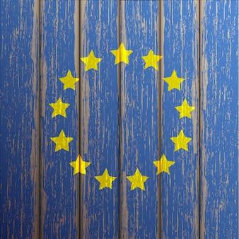Drapeau euro peint sur fond en bois ancien