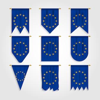 Drapeau de l'europe avec différentes formes, drapeau de l'europe dans diverses formes