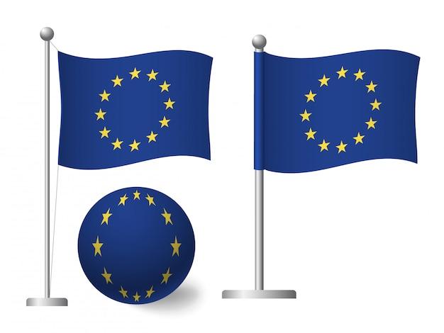 Drapeau de l'europe de l'ue sur l'icône de poteau et boule