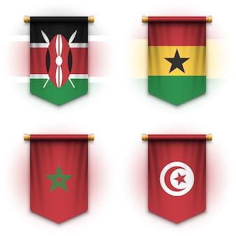 Drapeau de fanion réaliste du kenya, du ghana, du maroc et de la tunisie