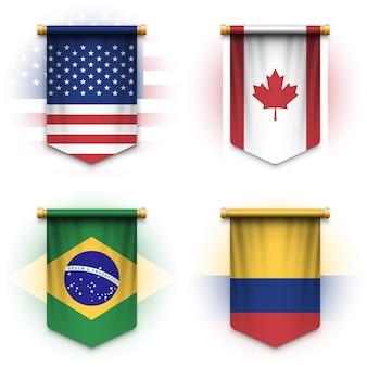 Drapeau de fanion réaliste des états-unis d'amérique, du canada, du brésil et de la colombie