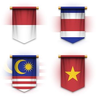 Drapeau de fanion réaliste de l'indonésie, de la thaïlande, de la malaisie et du vietnam
