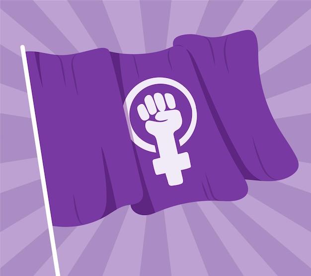 Drapeau féministe dessiné à la main