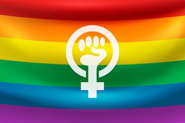 Drapeau féministe réaliste avec des couleurs arc-en-ciel