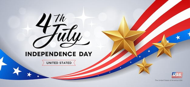 Drapeau de la fête de l'indépendance heureuse de l'amérique et étoiles d'or.