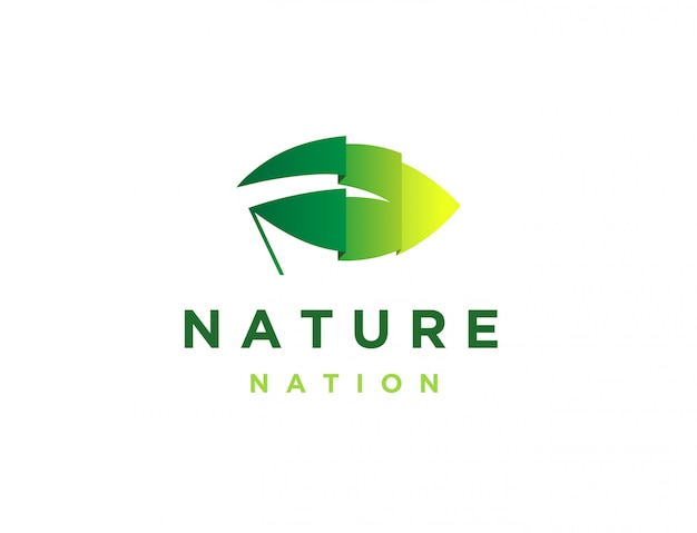 Drapeau feuille, logo nation nature