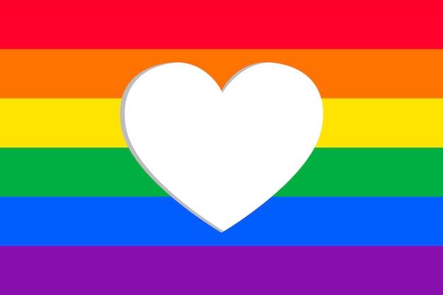 Drapeau de la fierté avec cadre coeur