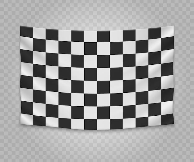 Drapeau de finition à damier suspendu réaliste. conception d'illustration bannière tissu vide.