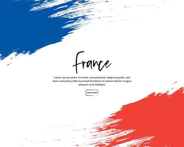 Drapeau français avec effet de coup de pinceau et texte