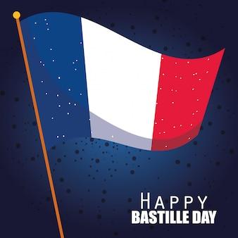 Drapeau de la france de la conception de la bonne journée bastille