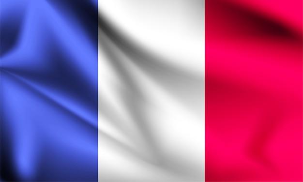 Drapeau de la france dans le vent. partie d'une série. france, agitant le drapeau.