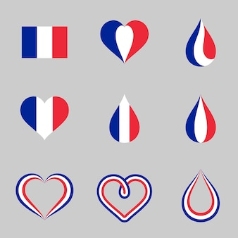 Drapeau de la france illustration coeur et conception de la goutte