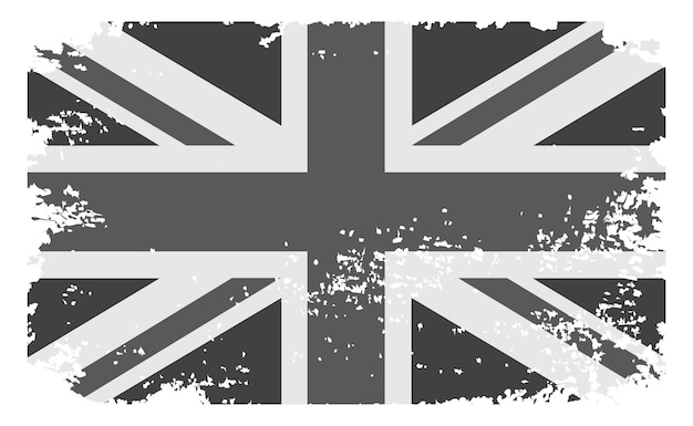 Drapeau grunge britannique noir et blanc