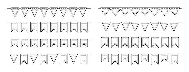 Drapeau guirlande bunting anniversaire ligne plat ensemble. anniversaire, fête de célébration drapeaux suspendus collection multicolore. décoration de festival de fanions de bruants linéaire. illustration isolée