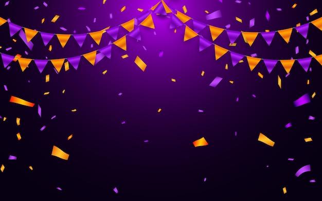 Drapeau de guirlande et confettis dans le concept de fête et de plaisir. modèle de fond de célébration.