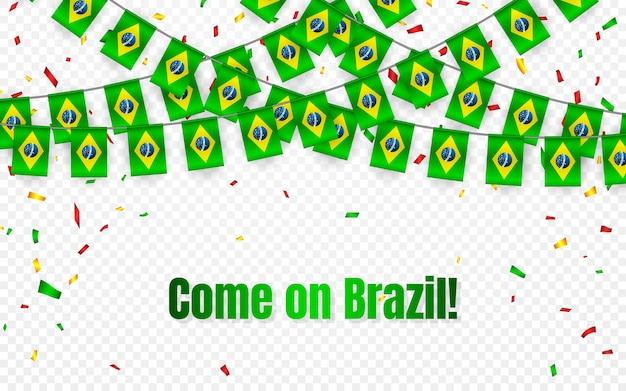 Drapeau de guirlande du brésil avec des confettis sur fond transparent, accrocher des banderoles pour la bannière de modèle de célébration,