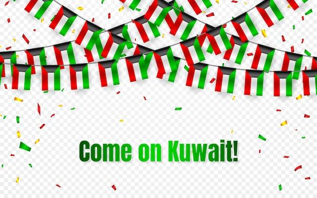 Drapeau de guirlande du koweït avec des confettis sur fond transparent, accrocher des banderoles pour la bannière de modèle de célébration,