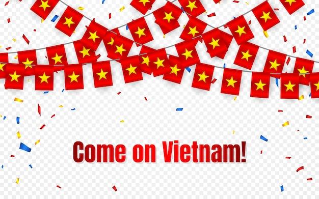 Drapeau de guirlande du vietnam avec des confettis sur fond transparent, accrocher des banderoles pour la bannière de modèle de célébration,