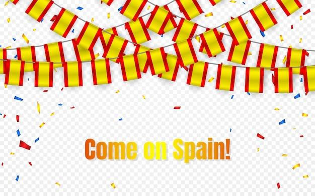 Drapeau de guirlande d'espagne avec des confettis sur fond transparent, accrocher des banderoles pour la bannière de modèle de célébration,
