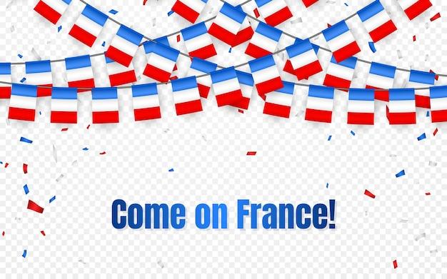 Drapeau de guirlande de france avec des confettis sur fond transparent, accrocher des banderoles pour la bannière de modèle de célébration française,