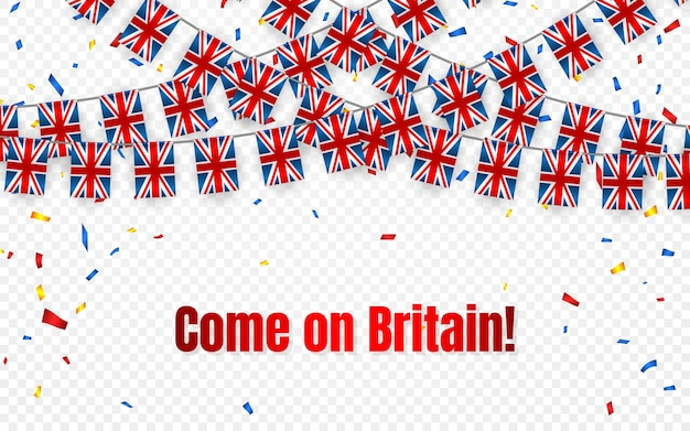Drapeau de guirlande de grande-bretagne avec des confettis sur fond transparent, accrocher des banderoles pour la bannière de modèle de célébration,
