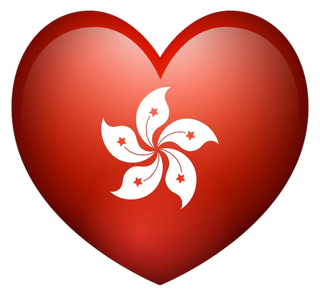 Drapeau de hong kong en forme de coeur