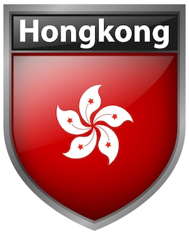 Drapeau de hong kong sur l'insigne