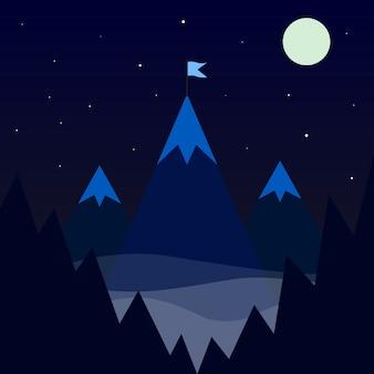 Drapeau sur l'icône de la montagne. illustration vectorielle la nature